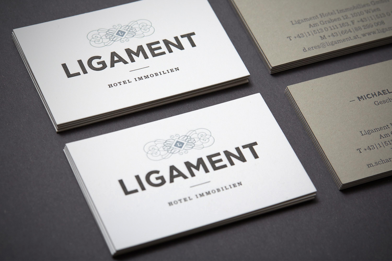 Logo Visitenkarte Design Grafikdesign Letterpress Luxus Ligament Hofegger Branding
