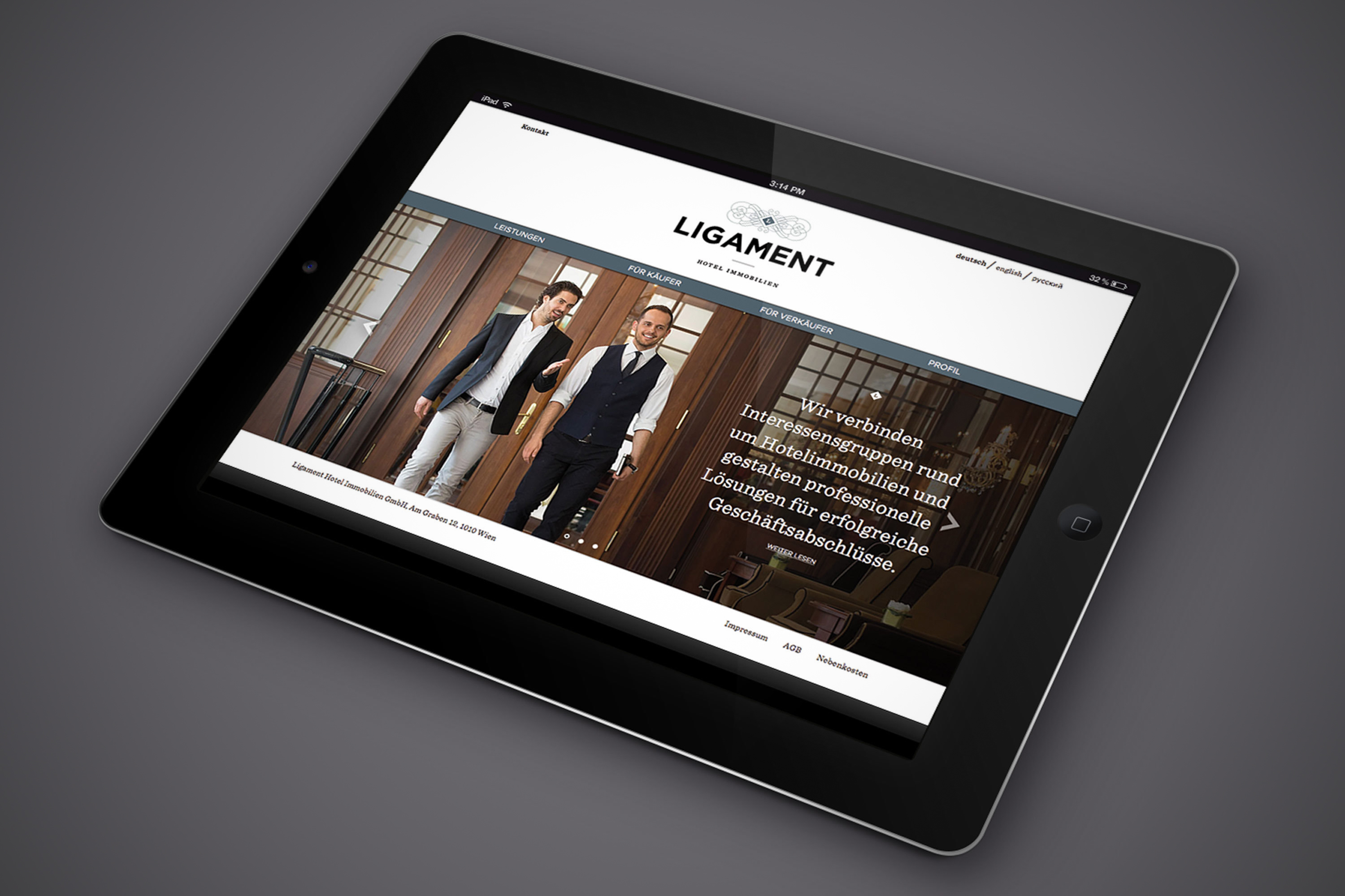 Design iPad Website Branding Hofegger Ligament