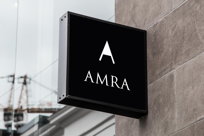 Branding Amra Schild Beschilderung Store Design Logo